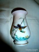 Antik szecessziós  kézzel festett üveg váza