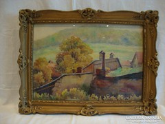 Jelzett akvarell tájkép Tabán ősszel blondel keret