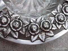 Bécsi rózsás hamutál ezüstözött 1900-as évek eleje