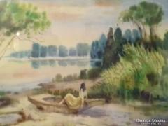 Vágyakozás Jelzett akvarell
