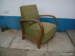 Hajlított karfás art deco fotel, karosszék