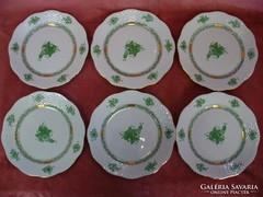 Apponyi zöld süteményes készlet 6 személyes