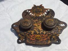 Antik Bronz Szecessziós Jelzett Tintatartó Keleti Motívummal