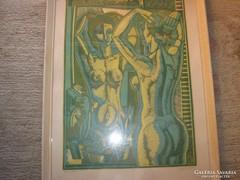 Józsa János Tükör előtt litográfia 63 x 45