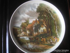 Antik fajansz tányér híres festők képével fa keret 25x25cm
