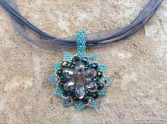 Zöld ezüst színű gyöngy ékszer szett nyaklánc + fülbevaló