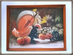 Szignózott, vászonra festett, régi olajfestmény, fa keretben