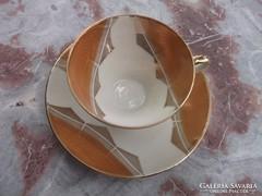 Akció! Bavaria kávéscsésze+tányér dús aranyozás kézifest.