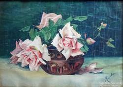 0H562 MARISKA jelzéssel akvarell virágcsendélet