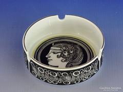 0H567 Régi Hollóházi porcelán hamutál SZÁSZ E.