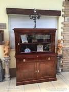 Antik bútor, felújított Biedermeier tálaló, könyvszekrény, p