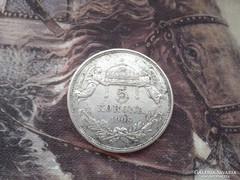 1908 -ezüst 5 korona.magyar 24 gramm 0,900,ritkább