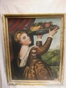 Női alak.Vászonra festett olajfestmény 86 x 70 cm
