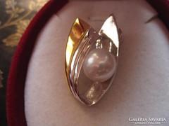 Art deco ezüst és arany medál - nagy igazgyöngy középen