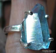 925 ezüst gyűrű, 19,7/61,9 mm aqua aura kvarccal