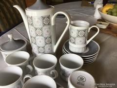Kahla volkstedt porcelán kávéskészlet, 6 szem, tökéletes