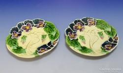 0I578 Körmöcbányai majolika süteményes tányér pár