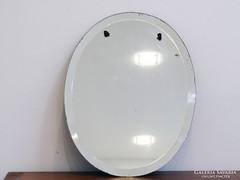 0I408 Régi ovális metszett falitükör 43.5 x 34 cm