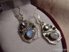 Ezüst és arany, holdköves 925 ezüst fülbevaló
