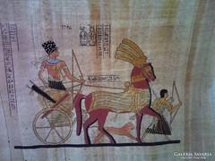Egyiptomi papiruszra festett,archaikus kép ÚJ!