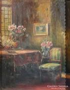 S412 Antik festmény szobabelső enteriőr
