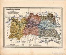 Liptó - vármegye térkép 1905, eredeti