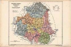 Szolnok - Doboka vármegye térkép 1905, eredeti