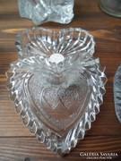 Szív alakú apró ékszer tartó fedeles üveg doboz ÚJ!