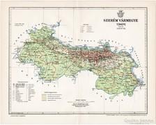 Szerém vármegye térkép 1897, antik, eredeti