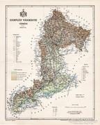 Zemplén vármegye térkép 1897, antik, eredeti