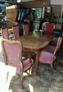 XIV.Lajos antik barokk étkezőasztal 8 székkel