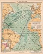 Atlanti - óceán térkép 1894, eredeti, antik
