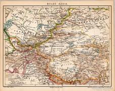 Belső Ázsia térkép 1894, eredeti, antik