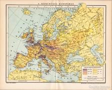 A népsűrűség Európában 1895 térkép, antik, eredeti