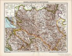 Szerbia, Novibazár és Montenegró térkép 1898, antik, eredeti