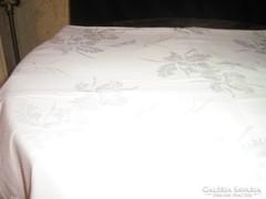 Különleges hatalmas hófehér damaszt asztalterítő 330x120