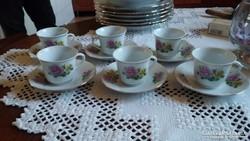 6 személyes porcelán kávés készlet, hibátlan