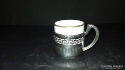 Ezüst porcelán betétes kávéscsésze