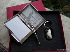Ezüstözött névjegykártyatartó és notesz , kulcstartó