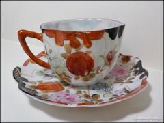 Jelzet antik porcelán csésze + alj