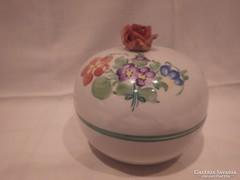 Herendi porcelán rózsás bonbonier nagy