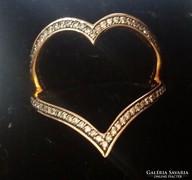 18K Sárga Arany szív gyűrű valódi gyémántokkal, certifikát