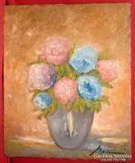 Rózsaszín kék ölelésében - csodálatos virág csendélet