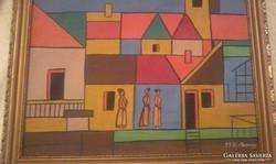 Barcsay Jenő Szentendre festmény 46,5 cm X 35,5 cm