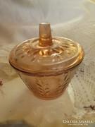 Rózsaszín antik üveg cukortartó