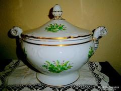 Antik kézi festéssel nagyméretű leveses tál (3 literes)