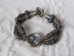 Gyönyörű kézműves ezüst ékszeróra lazurit gyöngyökkel