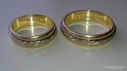 Arany karikagyűrű pár. 18 k. Fehérarany forgó betétekkel