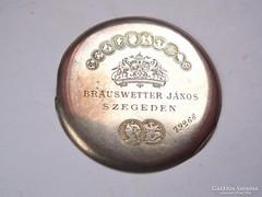 Brauswetter János,címeres ezüst zsebóra porvédő hátlap.