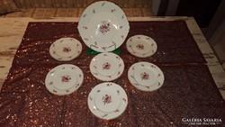 Angol porcelán desszertező készlet 6 személyes - Ritkaság!